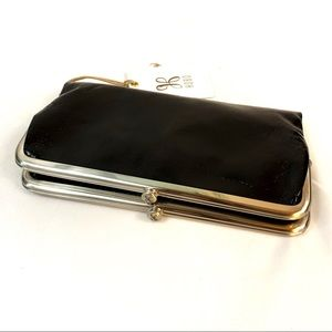 "HOBO black leather ""Lauren"" trifold wallet"